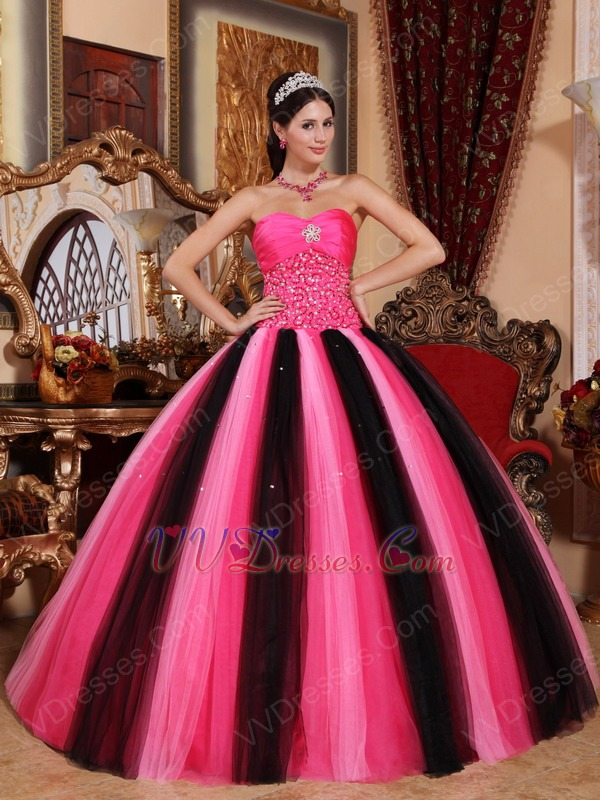 Contast Color Pink And Black Princess Ball Gown Prom Dress