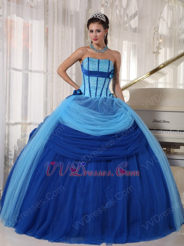 Sky Blue And Dark Blue Quinceanera Dress With Puffy Skirt