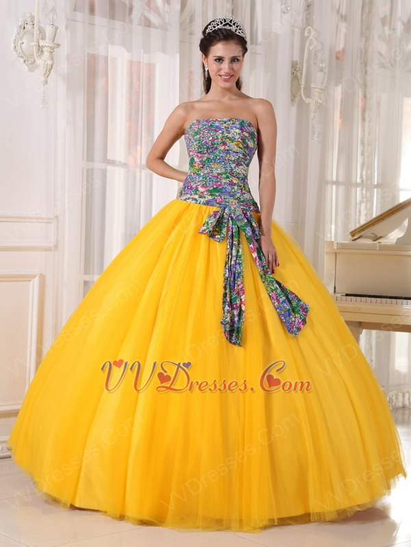 Fabric Cheap Quinceanera Dress In Dark Yellow