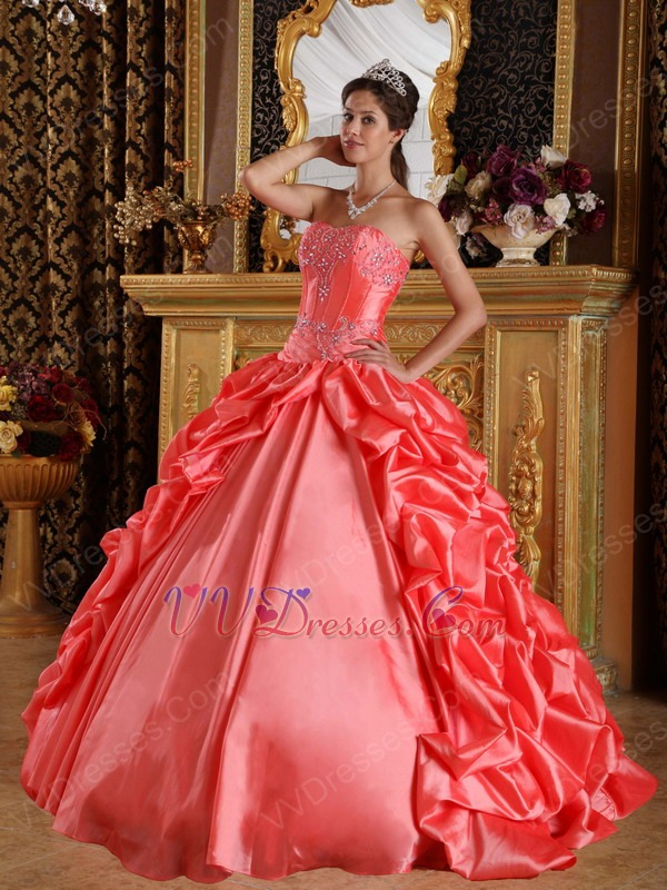 03a82239a9bb Side Bubble Coral Dress 2014 Winter Quinceanera Wear