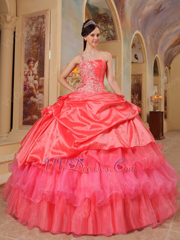 Coral Red And Hot Pink Quinceanera Dress With One Shoulder
