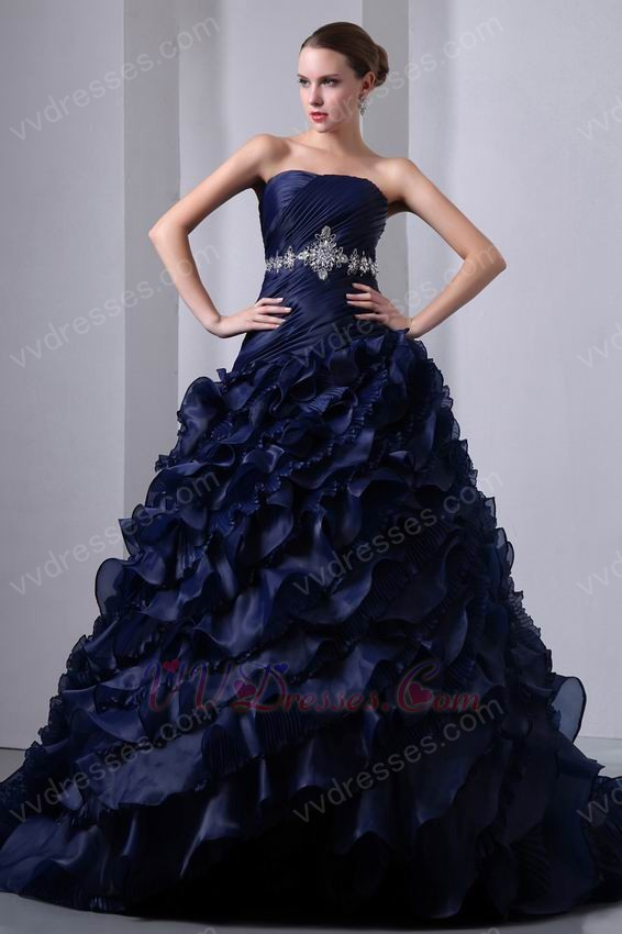 Layers Ruffles Skirt Navy Blue Ball Gown Quinceanera Dress