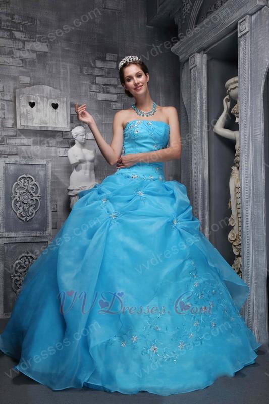 Sky Blue Embroidery 2014 Designer Quinceanera Dress For Sale  Sky Blue Embroi...