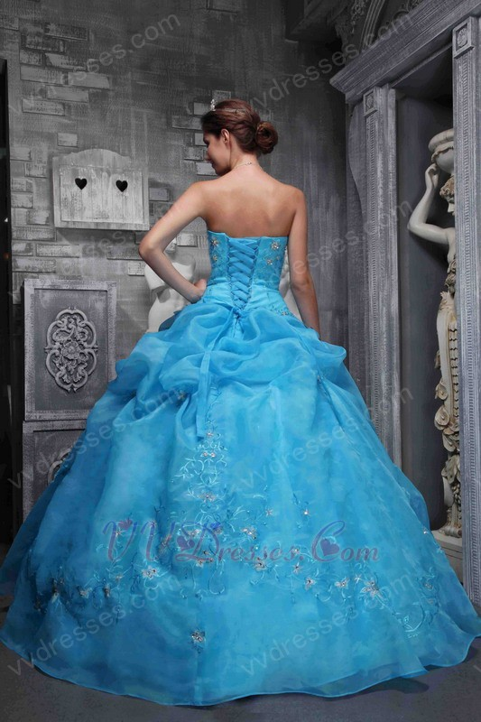 Sky Blue Embroidery 2014 Designer Quinceanera Dress For Sale