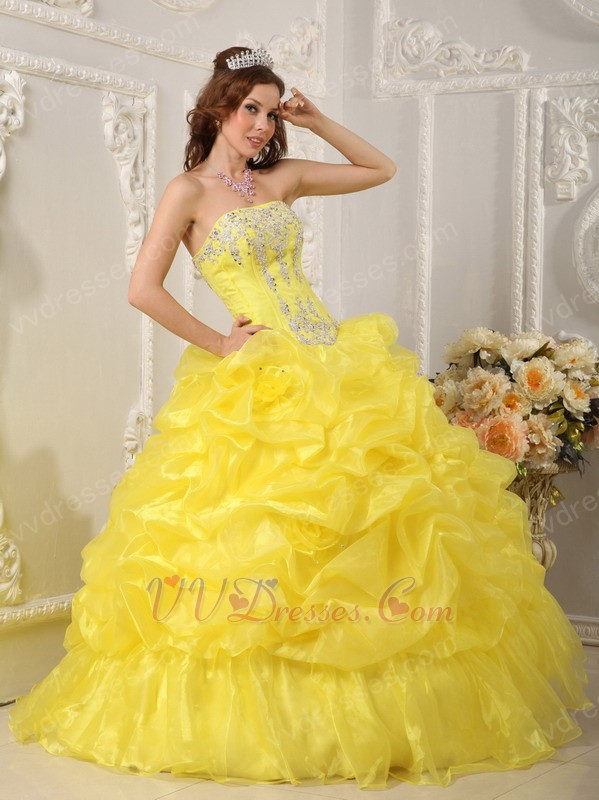 Canary Bright Yellow Bubble Skirt Quinceanera Dress