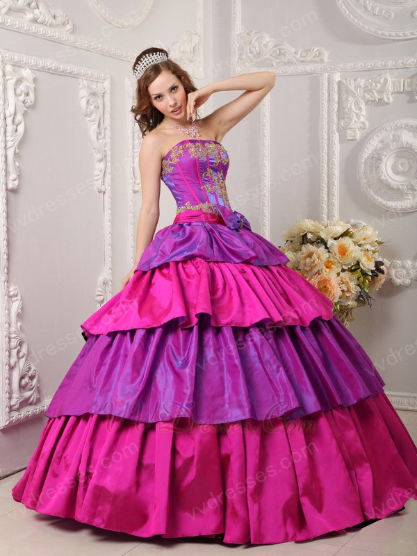 Purple And Fuchsia Layers Quinceanera Dress With Applique