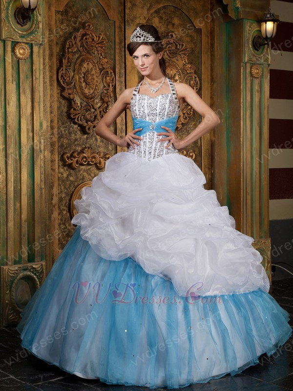 Halter Top White and Blue Quinceanera Dress With Beading  Halter Top Whit...