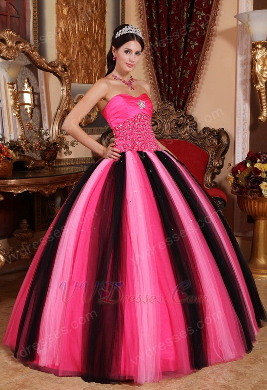 Contast Color Pink And Black Quinceanera Dress By Designer
