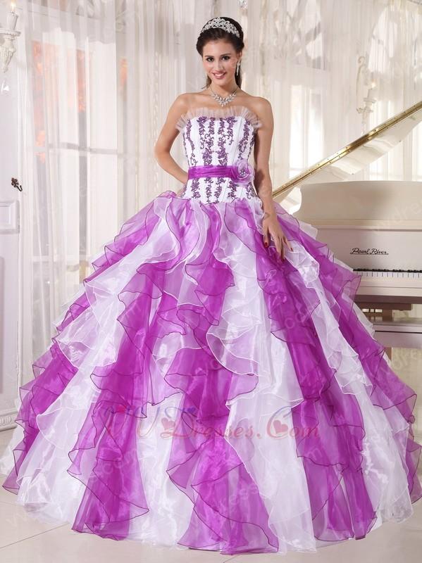 Purple And White Ombre Color Organza Fabric Quinceanera ... White And Purple Quinceanera Dresses