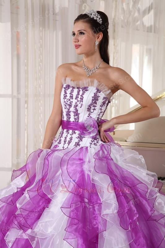Purple And White Ombre Color Organza Fabric Quinceanera