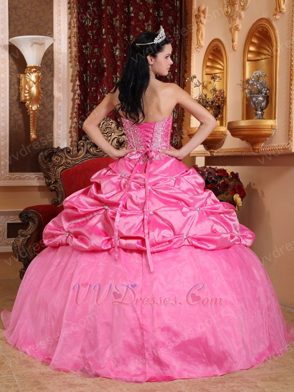 Hot Pink Strapless Bubble Custom Made Quinceanera Dress