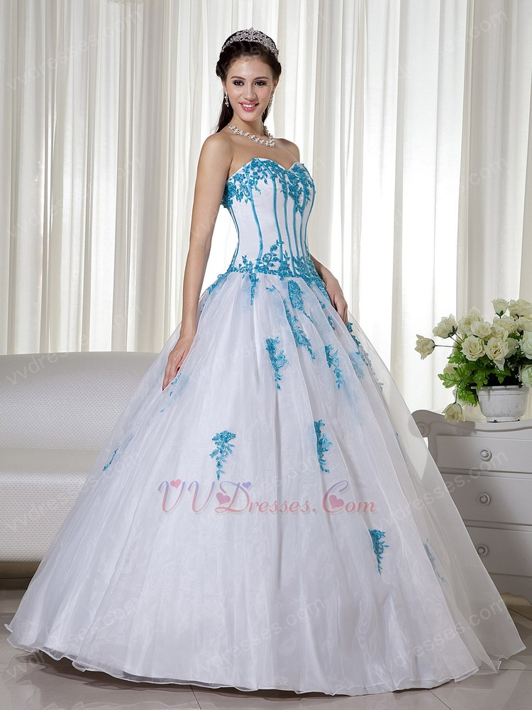 Light blue and white quinceanera dresses
