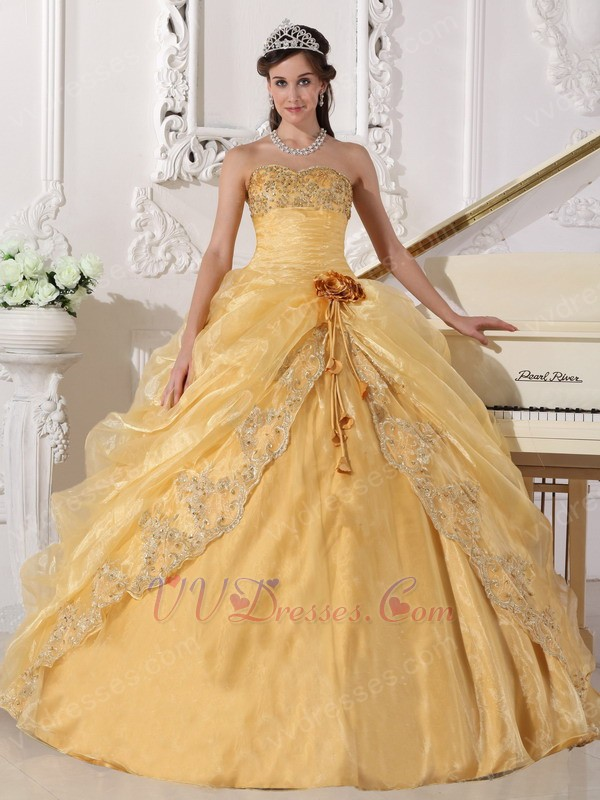 Sweetheart Golden Yellow Quinceanera Gown With Flower