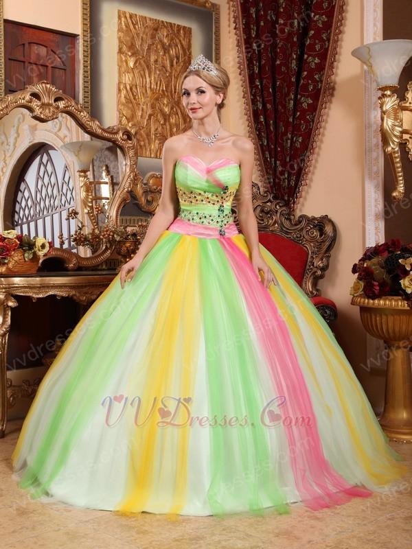 2014 Latest Fahsion Contrast Color Colorful Quinceanear Dress