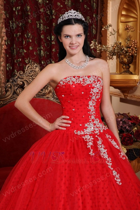 Strapless Red Quinceanera Dresses