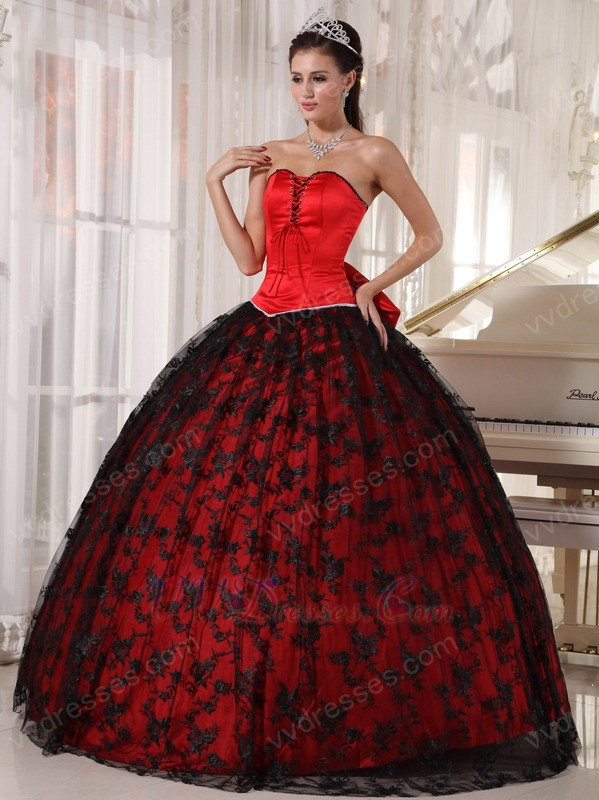 Basque Waist Black Lace Quinceanera Dress To 16 Years Old Girl