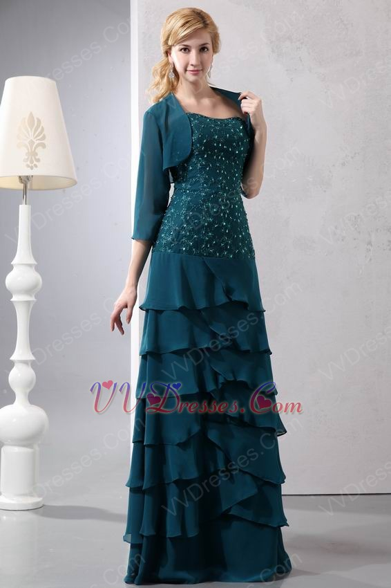 Beaded Lace Layers Skirt Peacock Blue Jacket Dress For Prom Wear