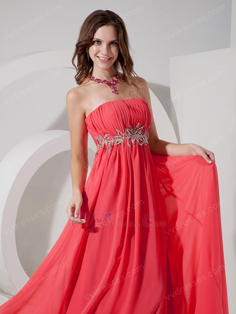 Strapless Ruched Watermelon Beautiful Prom Party Dress