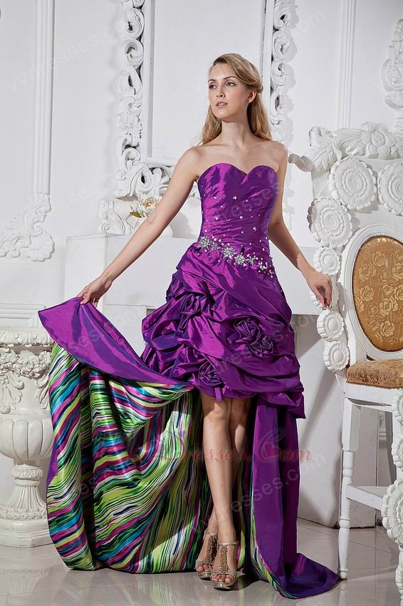 Best Seller High Low Skirt Purple Formal Prom Dress With