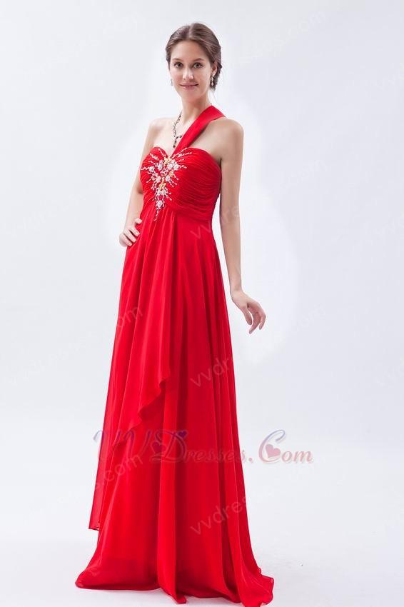 One Shoulder Neckline Scarlet Red Chiffon Celebrity Dress