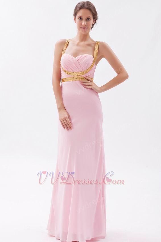 Back Floor Length Skirt Baby Pink Prom Dress By Designer