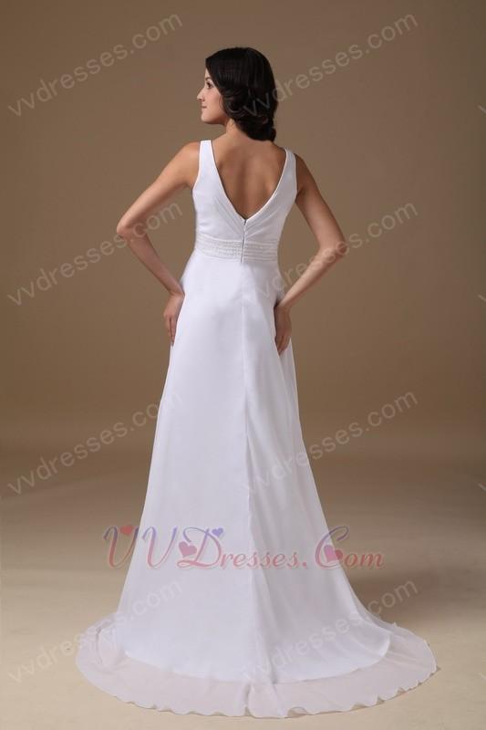 Decent v neck white long maternity prom dress for sale for Designer maternity wedding dresses