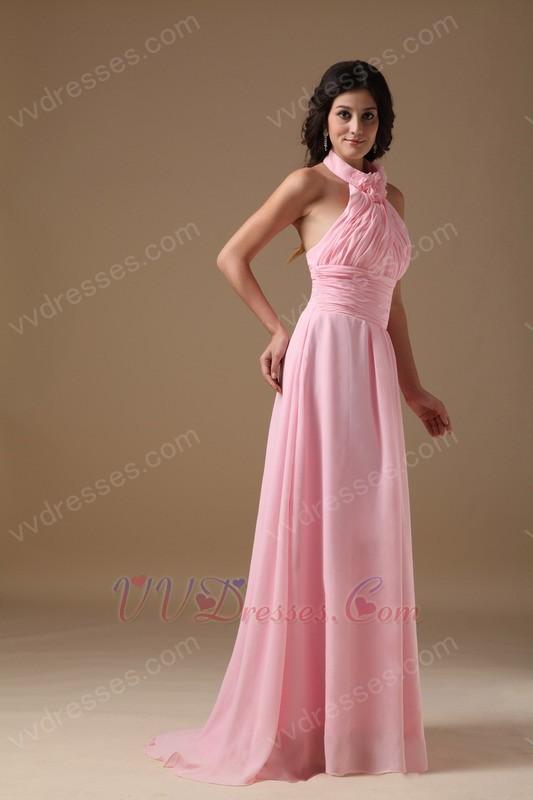 Halter Neckline Pink Chiffon 2014 Top 10 Designer Prom Dress