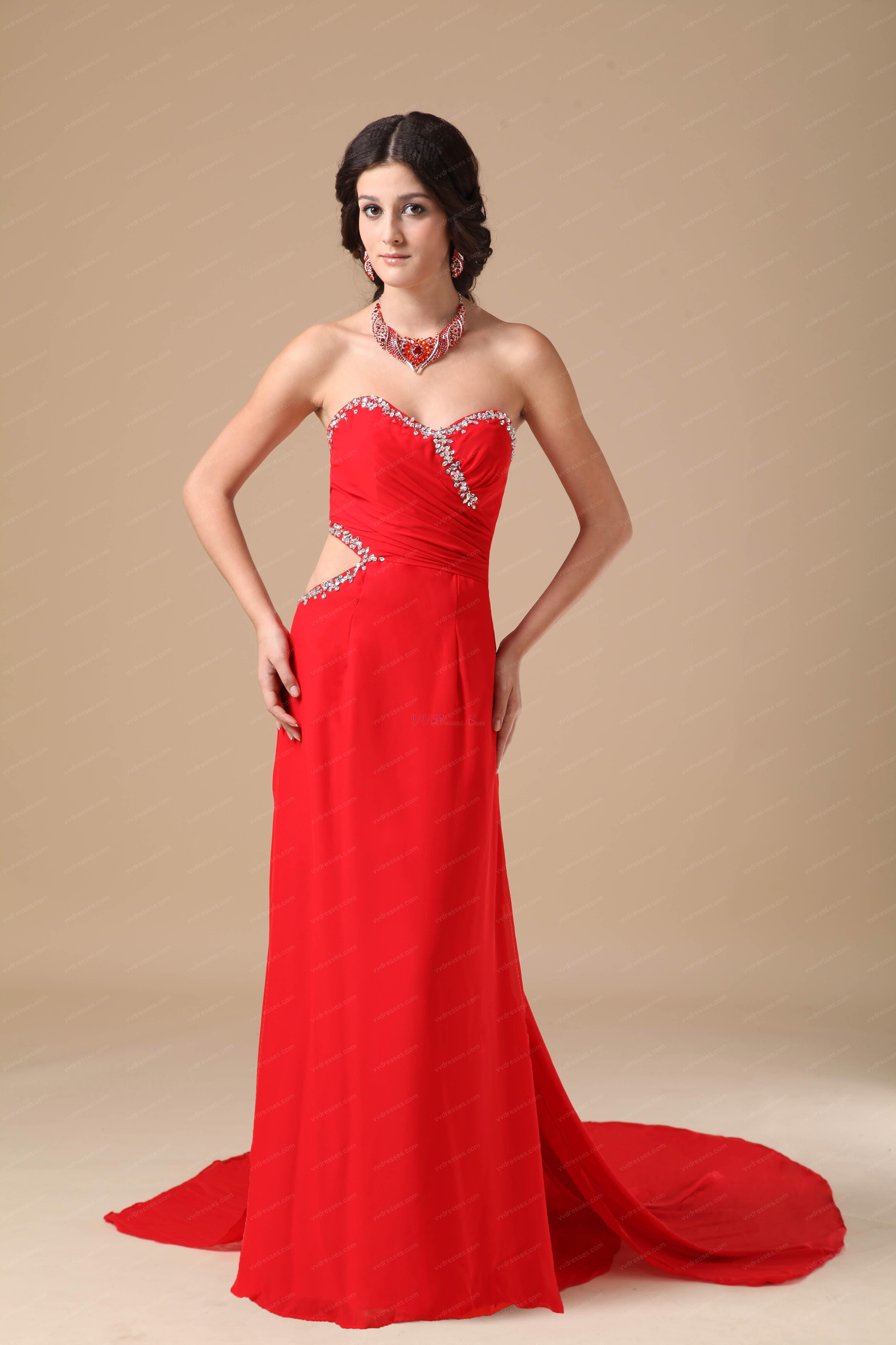 Normal Red Chiffon Split Prom Dance Dress With Panel Train