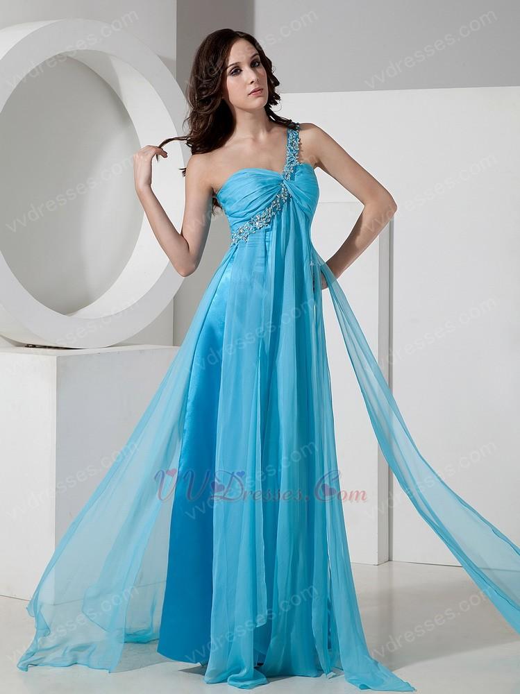 one shoulder floorlength aqua chiffon prom dress 2014