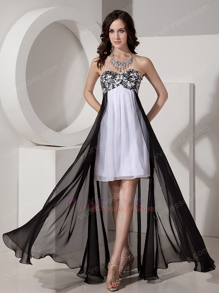 And White Short Front Long Back Skirt Prom Dress