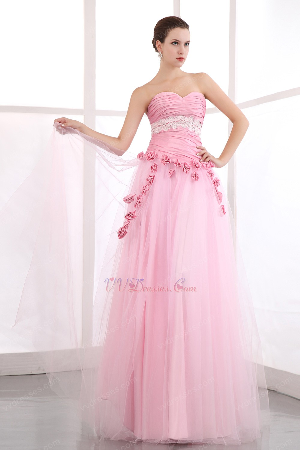 Pretty Sweetheart Pink Net Skirt Prom Dress With Flowers Decorate