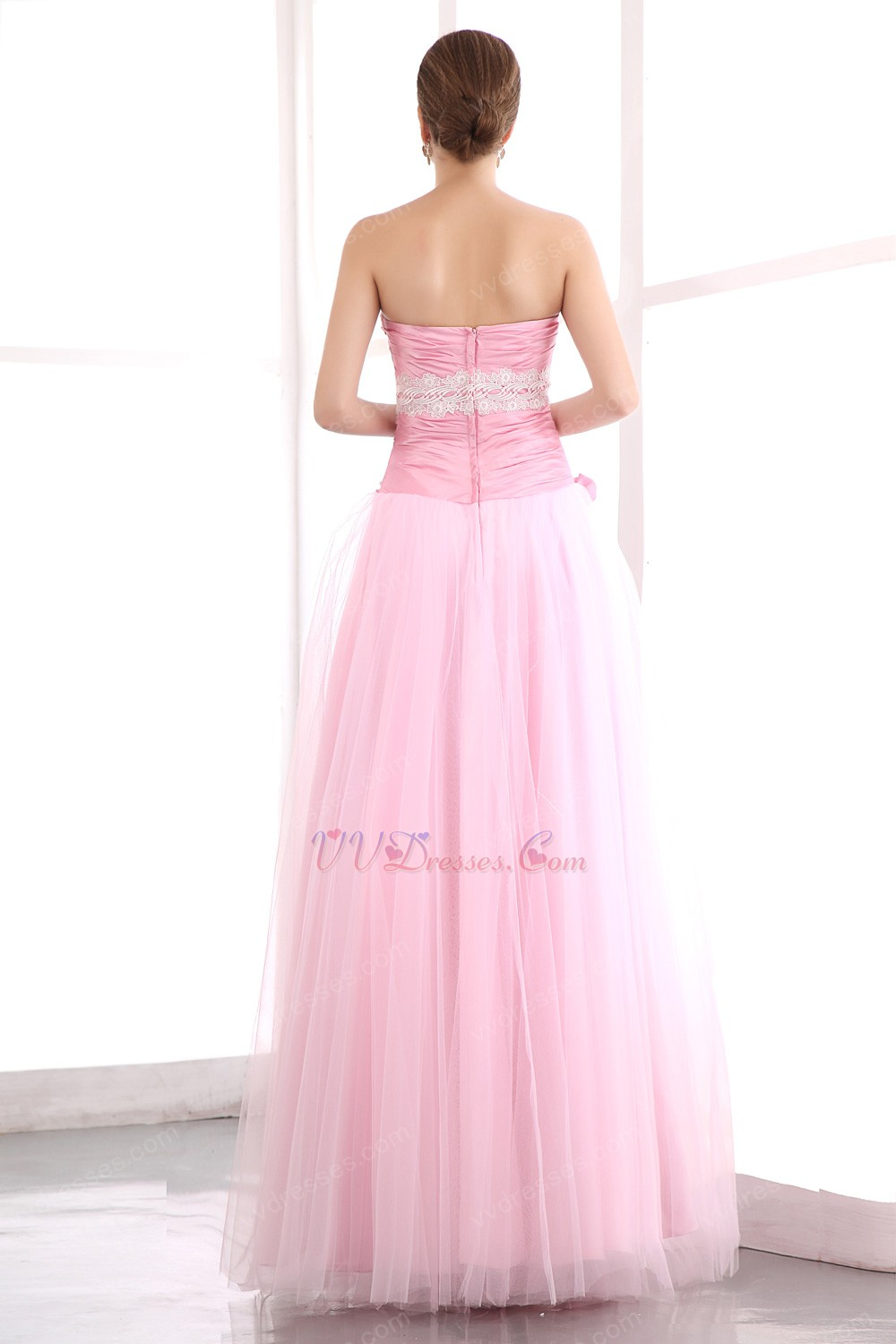 Pretty Sweetheart Pink Net Skirt Prom Dress With Flowers ...