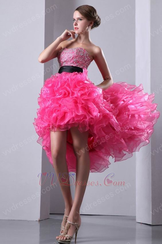 Ruffled High Low Skirt Hot Pink Prom Dress With Black Belt