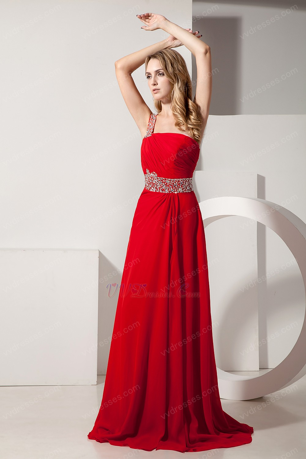 Dark Red One Shoulder A Line Prom Dress With Beading Belt