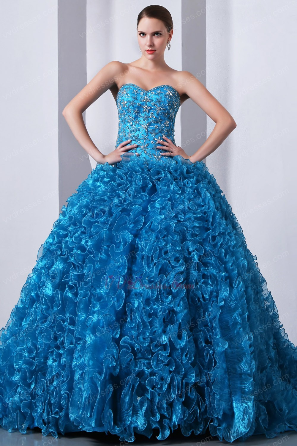 Ruffles Ball Gown Blue The Quinceanera Dress For Winter Party