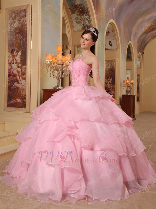 Looking Layers Pink Skirt Puffy Quinceanera Girls Dress