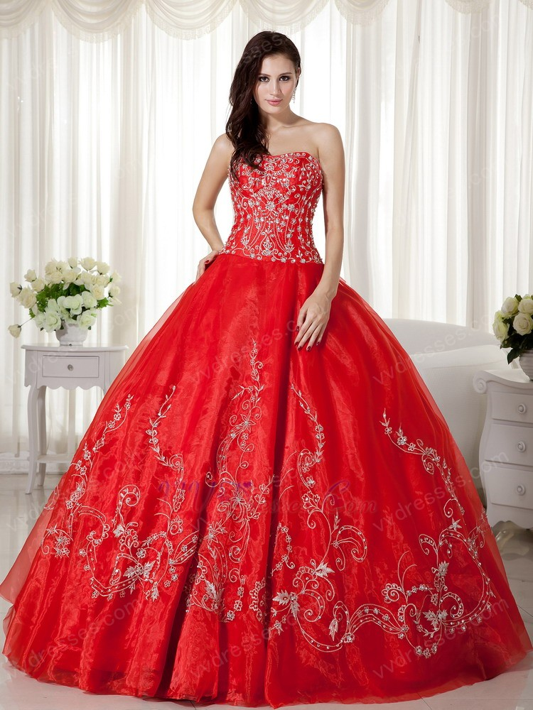 Scarlet Organza Skirt Princess Ball Gown With Embroidery