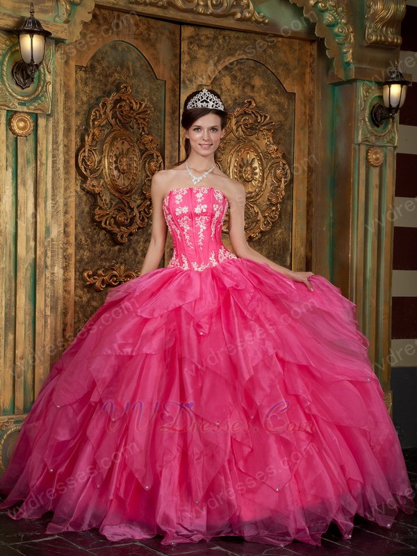 Strapless Hot Pink Quinceanera Dress For Cheap