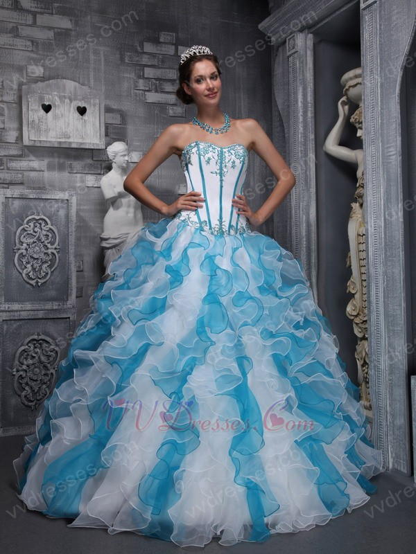 White And Blue Interphase Ruffle Skirt Quinceanera Party Girl  White And Blue ...