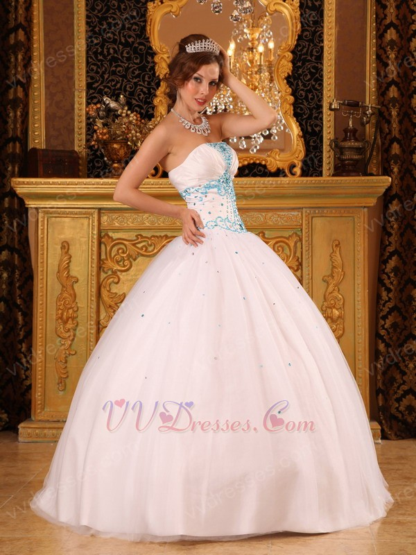 Discount White Ball Gown Quinceanera Dress With Blue Decorate