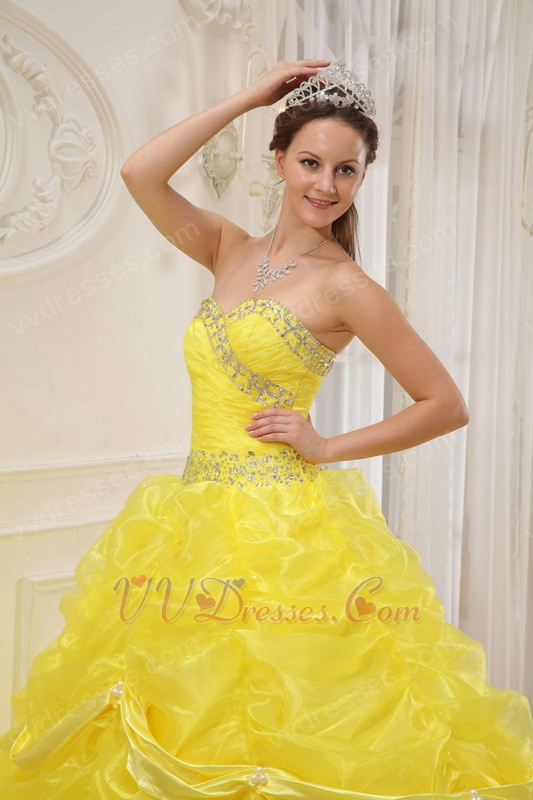 Bright Canary Yellow Picks Up Quinceanera Dress With Beading