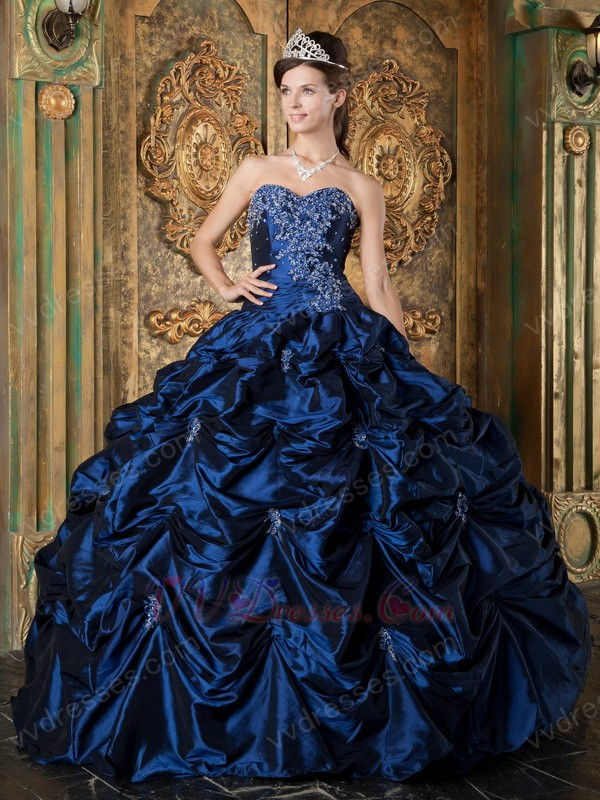 sweetheart picksup design navy blue puffy quinceanera gown