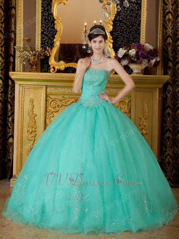 Designer Quinceanera Dresses :: Princess Turquoise Organza Quinceanera