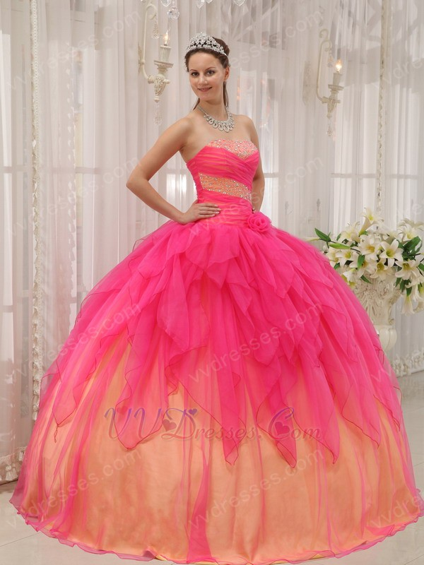 Pink Cascade Putty Skirt 2014 Orange Quinceanera Dress