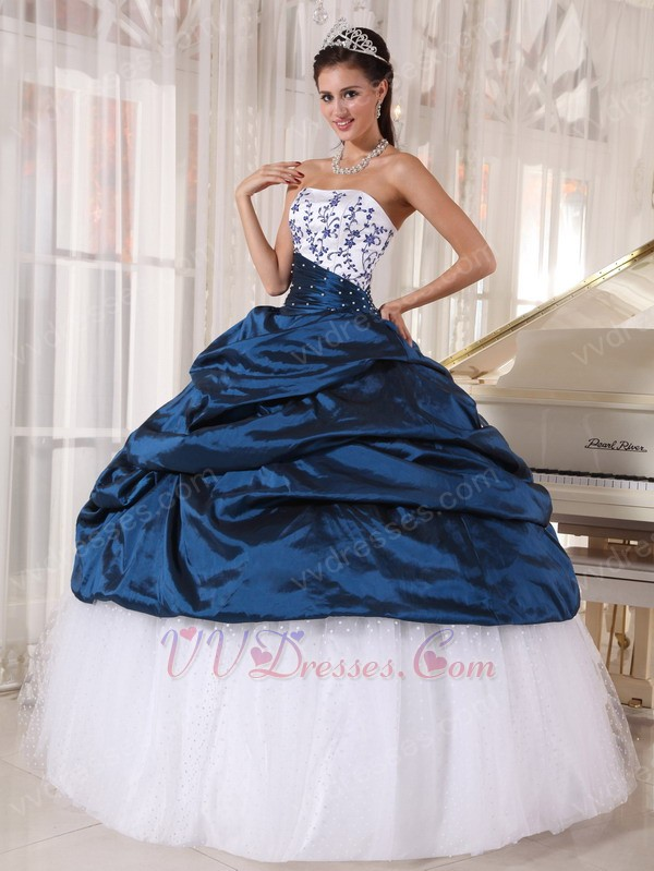 Blue Quinceanera Party Dress With White Puffy Skirt
