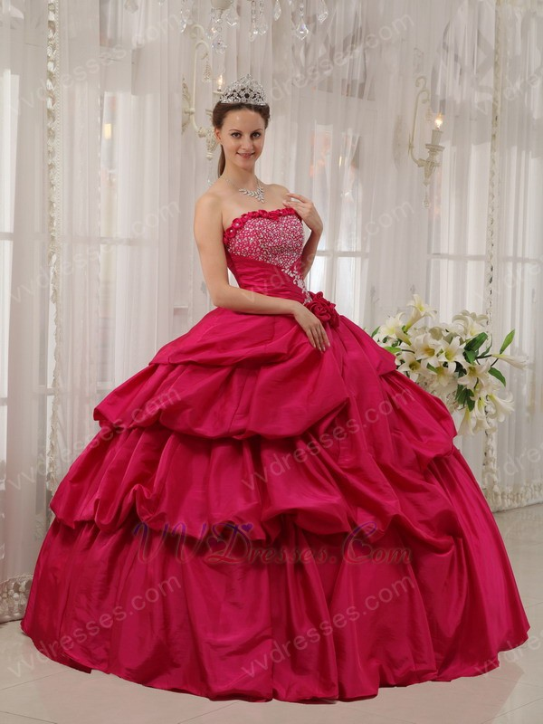 Rose Pink Puffy Skirt Princess Ball Gown Prom Dress