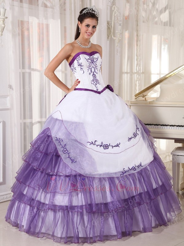 White And Lavender Designer Quinceanera Dress With Embroidery