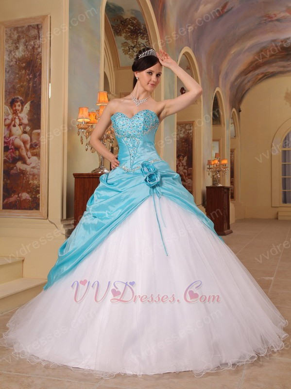 Sky Blue And White Sweetheart Quinceanera Dress