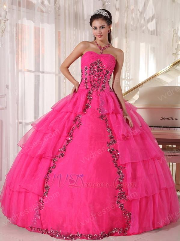 Deep Pink Organza Paillette Puffy Skirt Quinceanera Girls