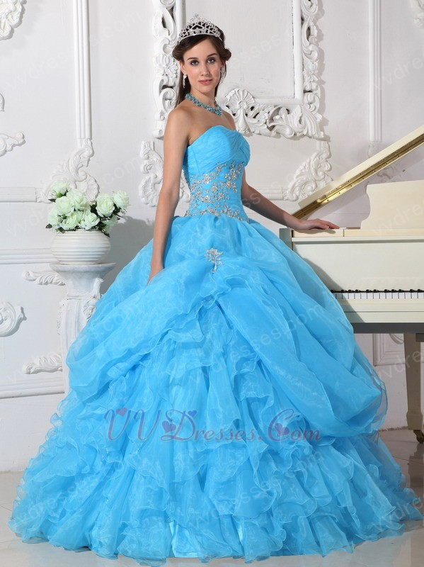 Blue Puffy Skitr Quinceanera Dresses Gowns For Cheap